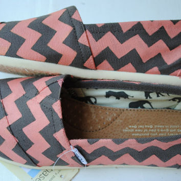 Custom Hand Painted TOMS Ash Gray and Coral Chevron Design