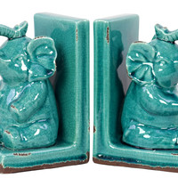 Adorable & Attractive Stoneware Sitting Elephant Bookend W/ Glossy Finish In Blue