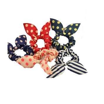 Rabbit Ears Fabric Dot Rubber Band Hair Rope Ring