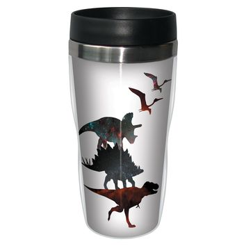 Dino Stack White Travel Mug - Premium 16 oz Stainless Lined w/ No Spill Lid