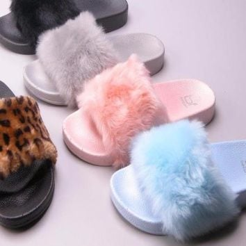 Pink Furry Slide Sandal