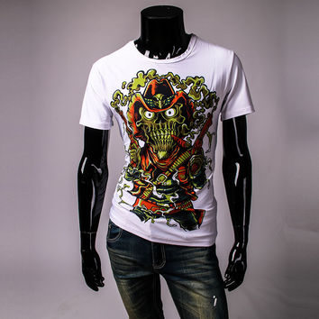 White T-shirt 3D Skull Character Printed Western Cowboy Skeleton Revolvers