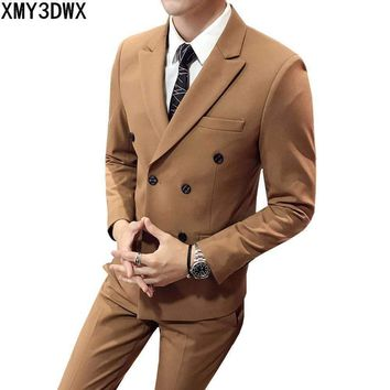 Mens Double Breasted Suit Slim Fit Solid Color Suit Set Male Luxury 3 Pieces Wedding Suits Business Casual Formal Wear