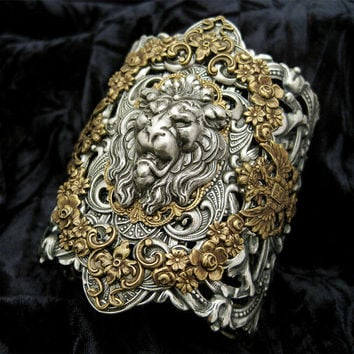 Lion's Pride  Mixed Metal Cuff Bracelet by RavynEdge on Etsy