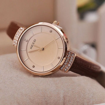Narrow Band strap simple style Watches Rhinestone women's wristwatch Soft PU Leather [7942681543]