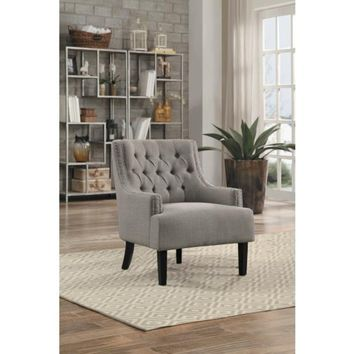 Tufted Back Accent Chair With Fabric Upholstery In Taupe Gray