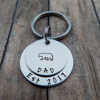 DAD Est with Birth Year - Hand Stamped Keychain - New Dad Gift - Grandpa - Daddy Bear - Papa Bear Keychain - Father's Day - Pregnancy Reveal