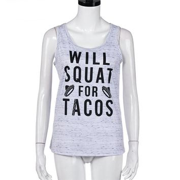 WILL SQUAT FOR TACOS Workout Tank Top - Women's Tank Top