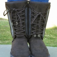 NWT Montana West Women's Brown Combat Bling Boots with Fur for Winter Size 8