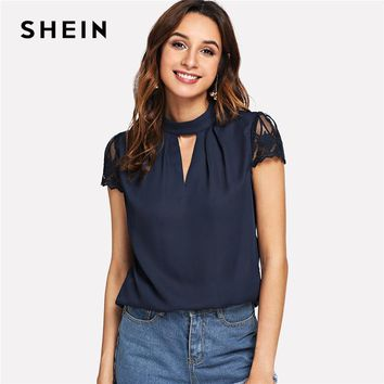 SHEIN Navy Elegant Workwear V Cut Neck Contrast Lace Sleeve Stand Collar Pleated Blouse Summer Women Weekend Casual Shirt Top