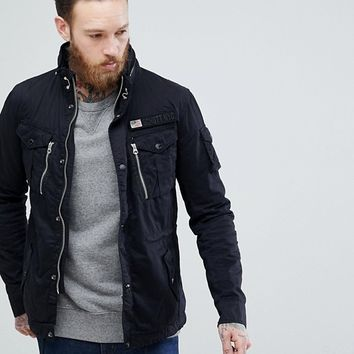 Schott Squad Military Overshirt Jacket in Black at asos.com