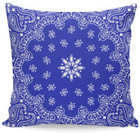 Blue Bandanna Couch Pillow