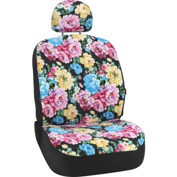 Bell Automotive Products Black Floral Low-Back Bucket Seat Cover | Product Details | Pep Boys