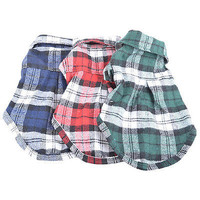 Small Pet Dog Puppy Plaid T Shirt Lapel Coat Cat Jacket Clothes Apparel Tops