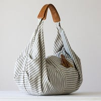 Kallia bag in Striped blue cotton and light brown by milloo
