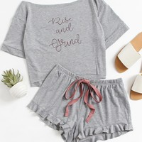 High Low Top And Frill Hem Shorts Pajama Set