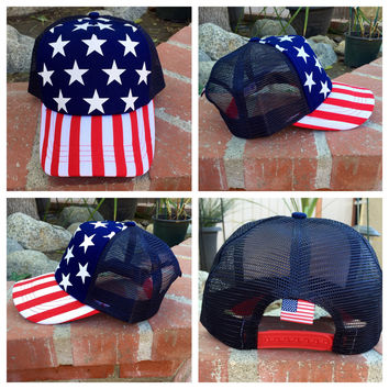 """Stars and Stripes"" Snapback Trucker Hat"