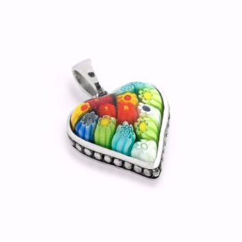 "Sterling Silver Multicolor Glass Murano Millefiori Glass Pendant Heart Shaped With Beaded Design (Free 18"" Chain)"