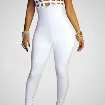 White Strappy Cut-Out Jumpsuit