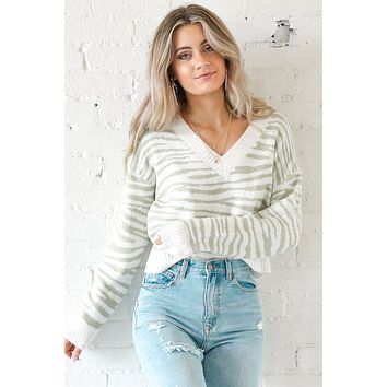 Bad Romance Pistachio Zebra Crop Sweater