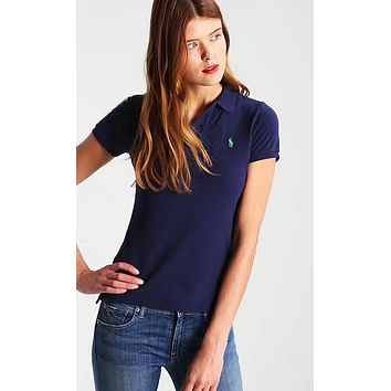 Polo Ralph Lauren Popular Women Embroidery T-Shirt Top Tee Sapphire Blue I-KWKWM