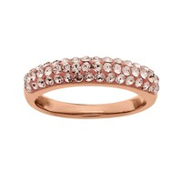 Artistique 18k Rose Gold Over Silver Crystal Ring - Made with Swarovski Elements (Brown)