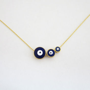 Three Sisters Necklace / Triple Evil Eye Necklace / Evil Eye Jewelry / Family Necklace / Gift for Mommy / Three Kids Mothers Necklace / N284
