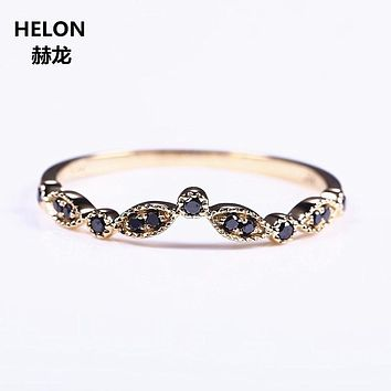 Solid 14k Yellow Gold Natural Black Diamonds Wedding Band Engagement Ring Women Fine Jewelry Millgrain Art Deco Vintage