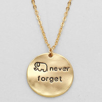Elephant Never Forget Necklace Gold