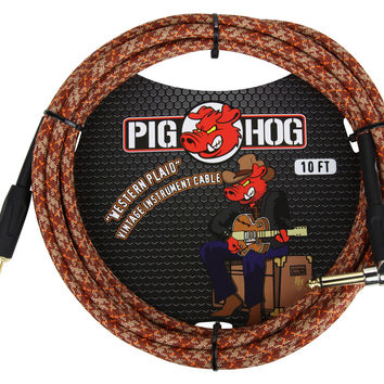 "Pig Hog ""Western Plaid"" Right Angle Instrument Cable"