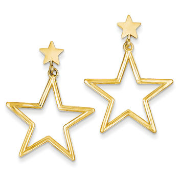 14k Star Dangle Post Earrings TM785