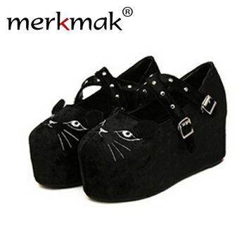Merkmak 2016 Cute Platform Shoes Wedge Flatform Punk Creeper Thick Shoes High Heels Le