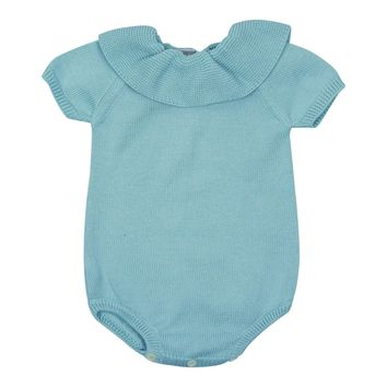 Carmina Baby Boy' Lake Collared Knit Romper