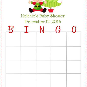 Baby Elf Christmas Themed Baby Shower Bingo Cards