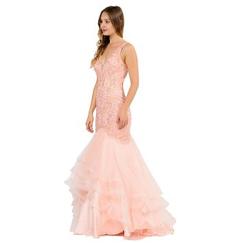 V-Neck Long Mermaid Tiered Prom Dress Blush