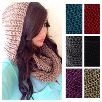 Soft and Cozy Crochet Hooded Infinity Scarves