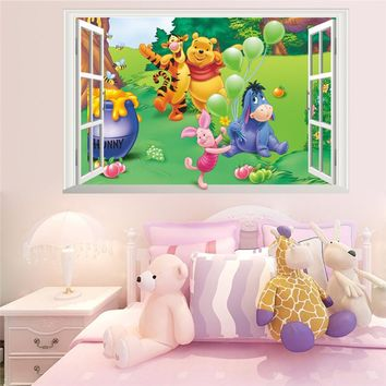 Cartoon Winnie Pooh Wall Stickers For Kids Children Room Decor 3d Window Bear Tiger Height Measure Nursery Wall Decals