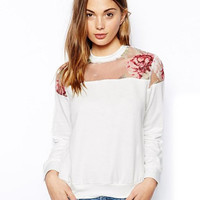 White Sheer Mesh Floral Print Long Sleeves Pullover Top