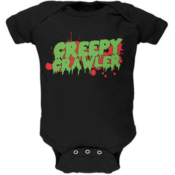 Halloween Creepy Crawler Black Soft Baby One Piece