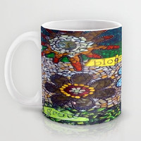 Bird, Sun, Flowers, Mosaic, Inspiring, Grow, Bloom, Fly - Ceramic Mug, 2 Sizes Available - Kitchen, Bathroom, Gift - Made To Order - GBF#45