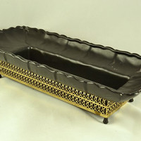 Gilner Pottery Planter-  Long Matte Black in Gold Metal Stand - Mid Century California Pottery - Rare Find MCM