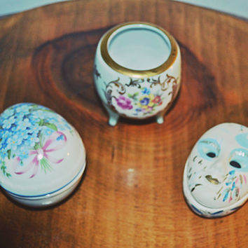 3 Trinket, Pill Boxes, Porcelain Boxes, Reutter, PM Porzellan, Harlequin Face, Ring Dish