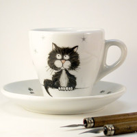 black cat porcelain cup and saucer, handpainted