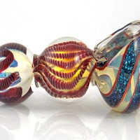 Extreme Heavy Triple Bubble Heady Smoking Pipe - Sparkly Glitter Swirl Fumed Color Changing Glass - Party Size Indestructible Bowl