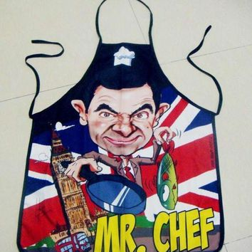 PEAPUG3 Hot Fashion New Mr Chef Print Kitchen Apron Funny Creative Cooking Aprons Gifts for Women Men (Size: One Size)