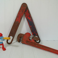 Rustic Red Metal Tools Decorative Set - Chippy Red Paint Rusty Tools Artisan Workshop Display - Vintage Fuller Quality 10 Inch Monkey Wrench