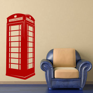 London Wall Decal British Payphone Phone Booth Vinyl Design United Kingdom UK British Wall Art Nursery Bedroom Dorm Office Home Decor 0038