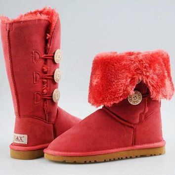 UGG fashion sells women's button-down mid-range UGG boots