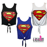 LADIES WOMENS SUPERMAN LOGO PRINTED CROP TOP TIE T SHIRT VEST SIZE 8 10 12