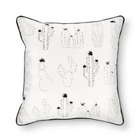 "Cream Cactus Print Throw Pillow (18""x18"") - Room Essentials™"